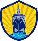 Passenger Ship Cargo Boat Crest Cartoon Royalty Free Stock Photos