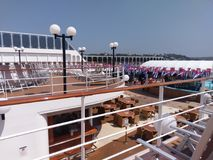 Passenger ship, cruise ship, water transportation, ship, vehicle, watercraft, deck. Passenger ship is cruise ship, vehicle and boat. That marvel has water stock photos