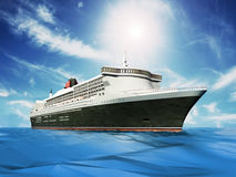 Passenger ship cruising at the sea. Against the blue cloudy sky Royalty Free Stock Images