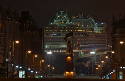 Passenger ship Diamond Princess in port Vladivostok at night. East (Japan) Sea. Russia. 02.09.2015 Royalty Free Stock Image