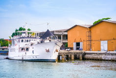 Passenger ship docking at port Stock Photos