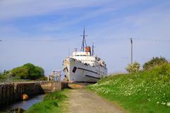 Passenger ship in dry dock Royalty Free Stock Image