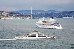 Passenger ship and ferry boat in the Bosporus Stock Photos