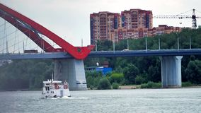 Passenger ship floating on the river. stock footage