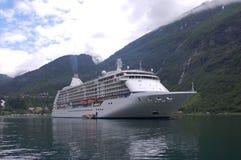 Passenger ship in Geirangerfjord stock image