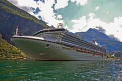 Passenger ship in Geirangerfjord Royalty Free Stock Images