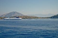 Through the Ionian Sea. Passenger ship going through the Ionian Sea Royalty Free Stock Images