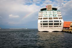 Rainbow over ship Royalty Free Stock Images