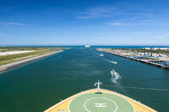 Sailing in the channel-a helideck view, Cape Canaveral Royalty Free Stock Photo