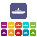 Passenger ship icons set Stock Photography