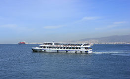 Passenger ship on Izmir bay Stock Images