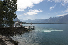 Passenger ship on lake Geneva Stock Photo