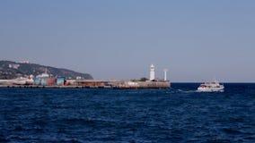 Passenger ship leaving port stock video