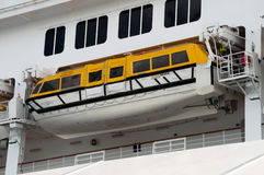 Passenger ship life boat. Side view of a cruise ship with life boat Stock Photography