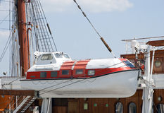 Passenger ship life boat. Life boat onboard a passenger sailing vessel Royalty Free Stock Images