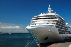 The passenger ship is moored in port. The passenger ship expects passengers in port royalty free stock photos
