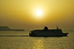 Passenger ship near Gibraltar Royalty Free Stock Images
