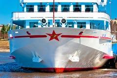 Passenger ship near pier Stock Photo