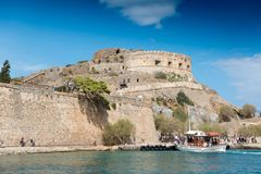 Passenger ship. With tourists during trip to Spinalonga island, Crete, Greece royalty free stock images