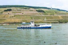Passenger ship on pier in Bingen Stock Photos