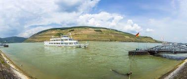 Passenger ship on pier in Bingen Royalty Free Stock Image