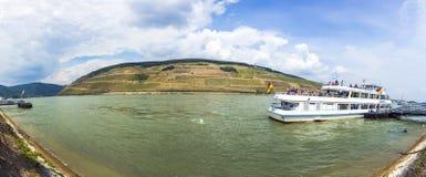 Passenger ship on pier in Bingen Stock Images