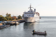 Passenger ship in the port Royalty Free Stock Image