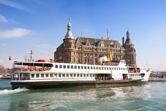 Passenger Ship in Port Haydarpasa. Istanbul ferryboat sails into port of Haydarpasa station building Royalty Free Stock Photography