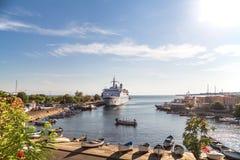 Passenger ship in the port of Nessebar Stock Photo