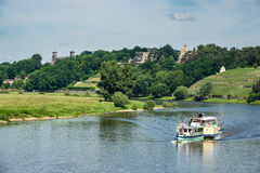 Passenger ship on the river Elbe in Dresden Stock Photo