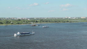 Passenger ship on the river stock video