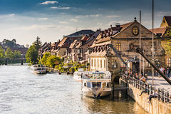 Passenger ship at River Regnitz in Bamberg Stock Images