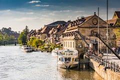 Passenger ship at River Regnitz in Bamberg stock images
