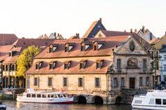 Passenger ship at River Regnitz in Bamberg stock photo