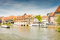 Passenger ship at River Regnitz in Bamberg Royalty Free Stock Images