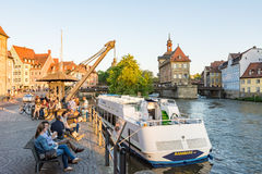 Passenger ship at River Regnitz in Bamberg Stock Photos