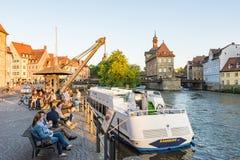Passenger ship at River Regnitz in Bamberg stock photos