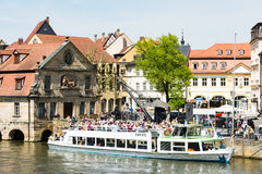Passenger ship at River Regnitz in Bamberg Royalty Free Stock Image