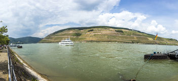 Passenger ship on river Rhine in Bingen Stock Photos