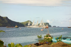 A passenger ship with sails unfurled at admiralty bay, bequia Royalty Free Stock Image