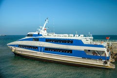 Passenger ship by sea Stock Photo