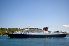 Passenger ship in Skiathos port. Big passenger ship in port on Skiathos island, Greece stock images