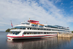 Passenger ship standing at the pier on the island of Valaam. Passenger cruise ship standing at the pier on the island of Valaam. Karelia, Russia royalty free stock images