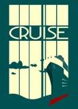 Passenger ship on striped backdrop Stock Photo