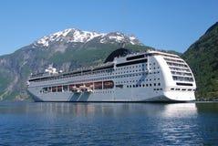 Passenger ship visiting Geiranger Stock Image