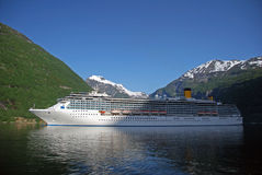 Passenger ship visiting Geiranger stock images