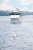 Passenger ship and yacht floating near Stockholm Stock Photo