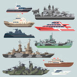 Passenger ships and battleships. Submarine destroyer in the sea. Water boats vector illustrations in flat style. Battle boat ship and marine transport military Stock Photo