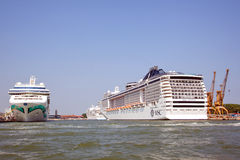 Passenger ships in the harbour of Venice Royalty Free Stock Photography