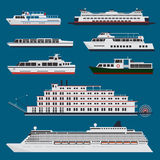 Passenger ships infographic. Passenger and cruise ships and boats infographic Royalty Free Stock Photo